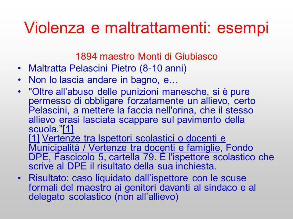 Violenza e maltrattamenti: esempi 1894 maestro Monti di Giubiasco Maltratta Pelascini Pietro (8-10 anni) Non lo lascia andare in bagno, e…