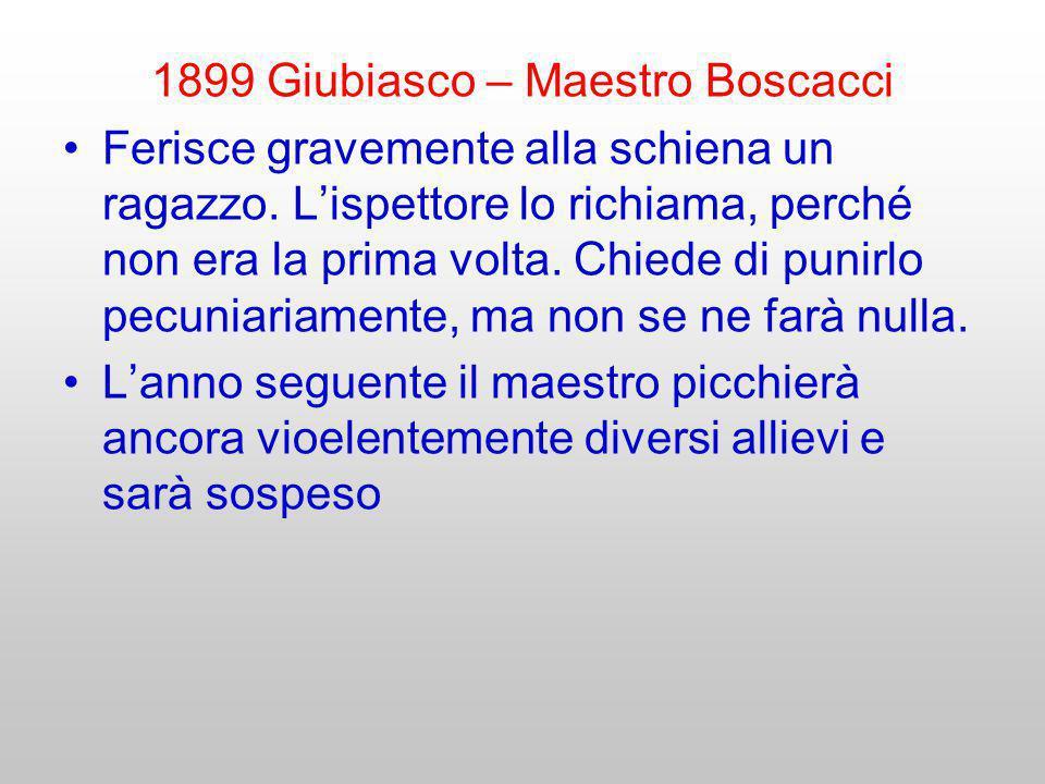 1899 Giubiasco – Maestro Boscacci Ferisce gravemente alla schiena un ragazzo. Lispettore lo richiama, perché non era la prima volta. Chiede di punirlo