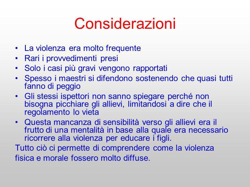 Considerazioni La violenza era molto frequente Rari i provvedimenti presi Solo i casi più gravi vengono rapportati Spesso i maestri si difendono soste