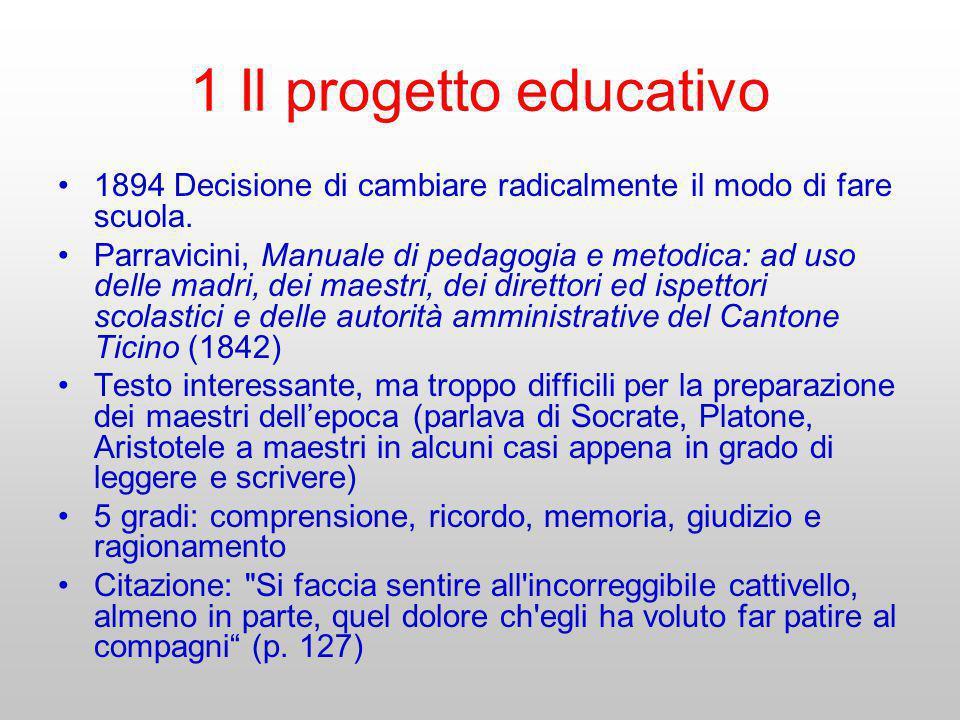 1 Il progetto educativo 1894 Decisione di cambiare radicalmente il modo di fare scuola. Parravicini, Manuale di pedagogia e metodica: ad uso delle mad