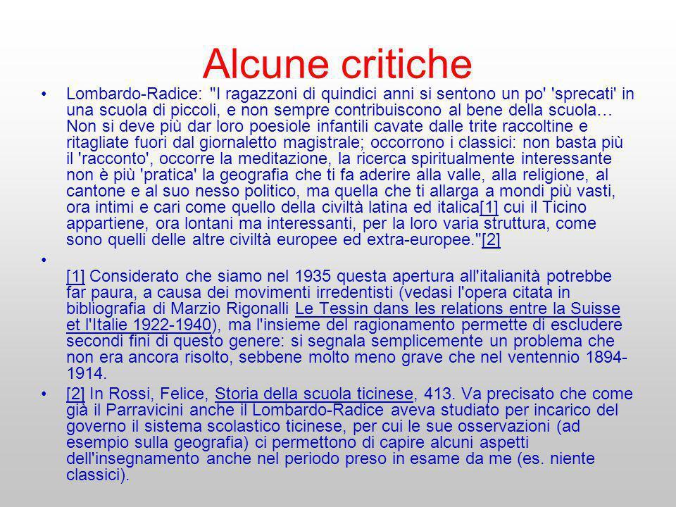 Alcune critiche Lombardo-Radice: