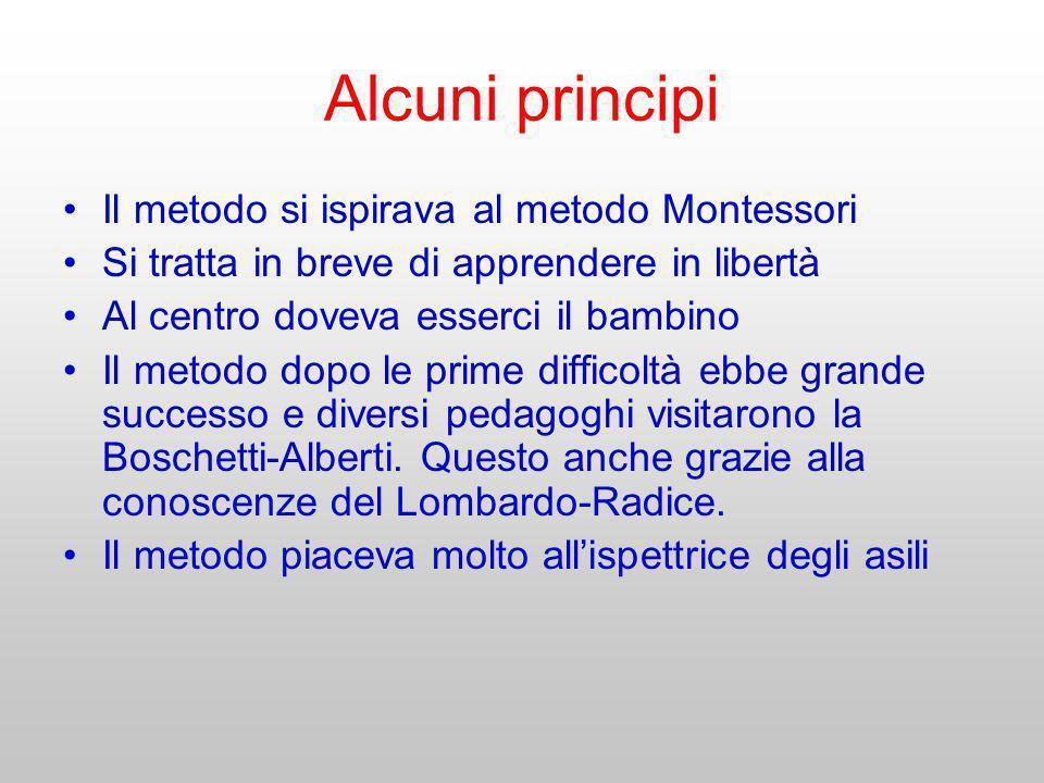 Alcuni principi Il metodo si ispirava al metodo Montessori Si tratta in breve di apprendere in libertà Al centro doveva esserci il bambino Il metodo d