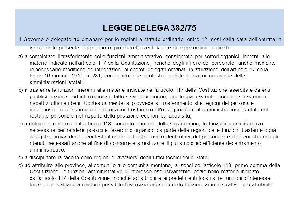 LEGGE DELEGA 382/75 E SUCCESSIVO DPR 616 DEL 1977 TRASFERISCE A REGIONI ED ENTI LOCALI LE PRINCIPALI COMPETENZE AMMINISTRATIVE RELATIVE ALLORGANIZZAZIONE ED ALLA GESTIONE DEI SERVIZI SOCIALI; RISERVA ALLO STATO LE FUNZIONI DI INDIRIZZO, COORDINAMENTO ED AMMINISTRATIVE CONNESSE ALLORDINE PUBBLICO; LART.