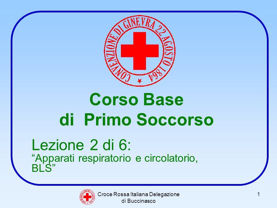 Croce Rossa Italiana Delegazione di Buccinasco 1 Corso Base di Primo Soccorso C O N V E N Z I O N E D I G I N E V R A 2 2 A G O S T O 1 8 6 4 Lezione 2 di 6: Apparati respiratorio e circolatorio, BLS