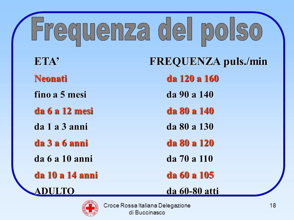 Croce Rossa Italiana Delegazione di Buccinasco 18 C O N V E N Z I O N E D I G I N E V R A 2 2 A G O S T O 1 8 6 4 ETA FREQUENZA puls./min Neonati da 120 a 160 fino a 5 mesi da 90 a 140 da 6 a 12 mesi da 80 a 140 da 1 a 3 anni da 80 a 130 da 3 a 6 anni da 80 a 120 da 6 a 10 anni da 70 a 110 da 10 a 14 anni da 60 a 105 ADULTO da 60-80 atti