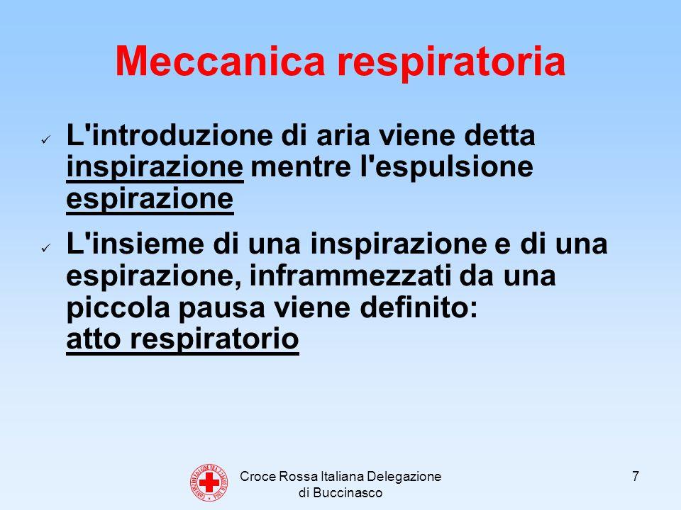 Croce Rossa Italiana Delegazione di Buccinasco 7 Meccanica respiratoria L introduzione di aria viene detta inspirazione mentre l espulsione espirazione L insieme di una inspirazione e di una espirazione, inframmezzati da una piccola pausa viene definito: atto respiratorio C O N V E N Z I O N E D I G I N E V R A 2 2 A G O S T O 1 8 6 4