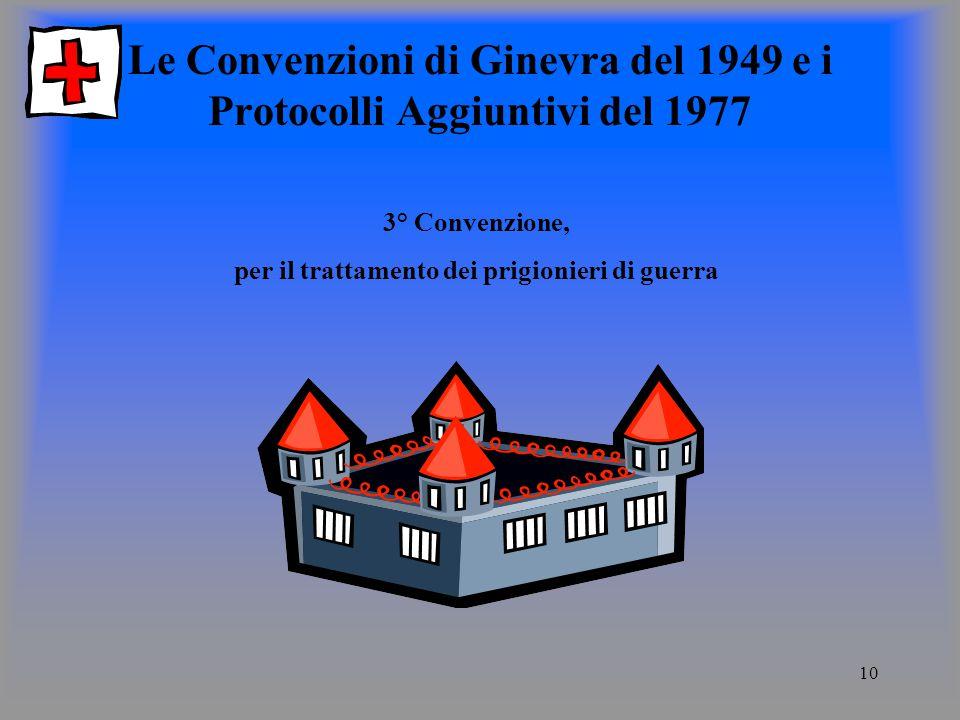 10 Le Convenzioni di Ginevra del 1949 e i Protocolli Aggiuntivi del 1977 3° Convenzione, per il trattamento dei prigionieri di guerra