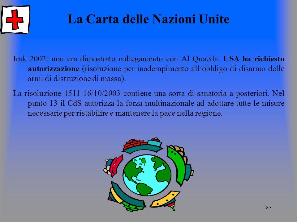 83 La Carta delle Nazioni Unite Irak 2002: non era dimostrato collegamento con Al Quaeda.