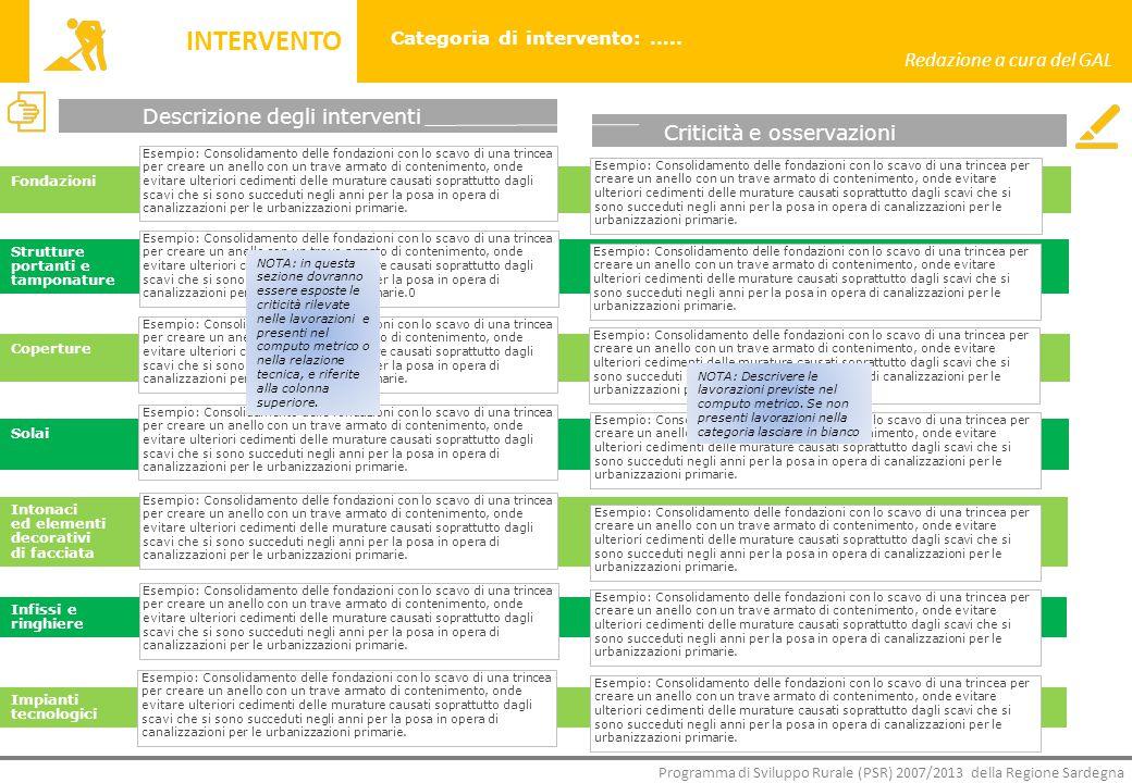 Block notes Contesto Particolarità Opportunità Criticità Tipologia Redazione a cura del GAL Programma di Sviluppo Rurale (PSR) 2007/2013 della Regione Sardegna Categoria di intervento: …..