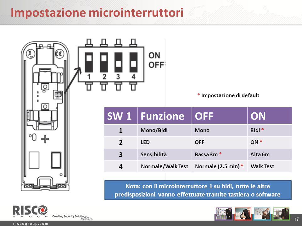 17 Impostazione microinterruttori SW 1FunzioneOFFON 1 Mono/BidiMonoBidi * 2 LEDOFFON * 3 SensibilitàBassa 3m *Alta 6m 4 Normale/Walk TestNormale (2.5