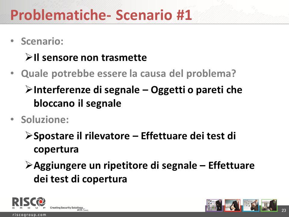 23 Problematiche- Scenario #1 Scenario: Il sensore non trasmette Quale potrebbe essere la causa del problema? Interferenze di segnale – Oggetti o pare