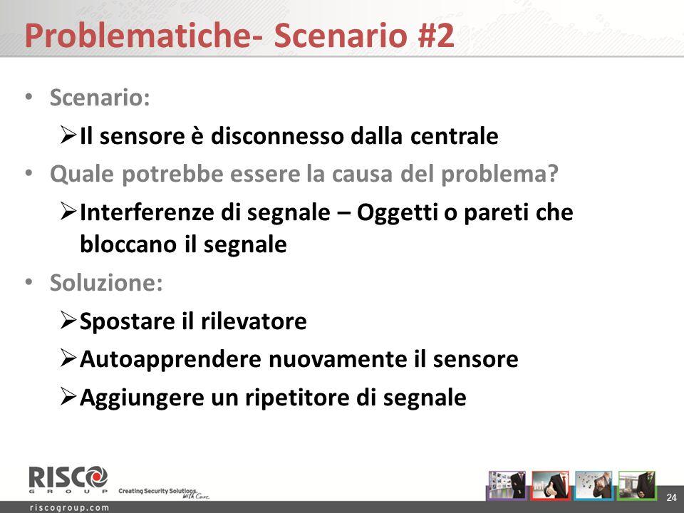 24 Problematiche- Scenario #2 Scenario: Il sensore è disconnesso dalla centrale Quale potrebbe essere la causa del problema? Interferenze di segnale –