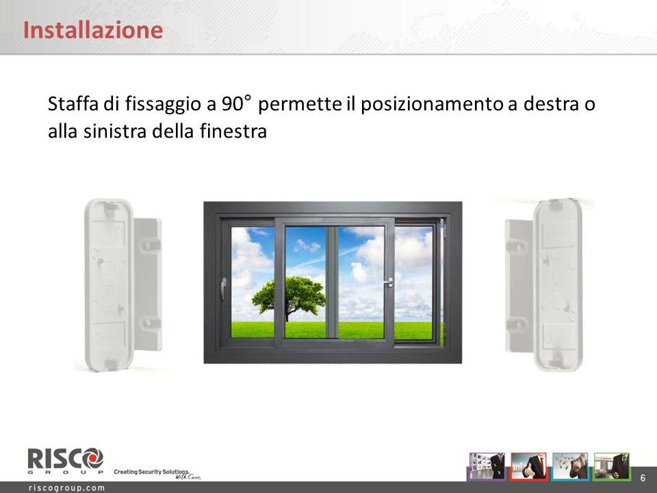 6 Installazione Staffa di fissaggio a 90° permette il posizionamento a destra o alla sinistra della finestra