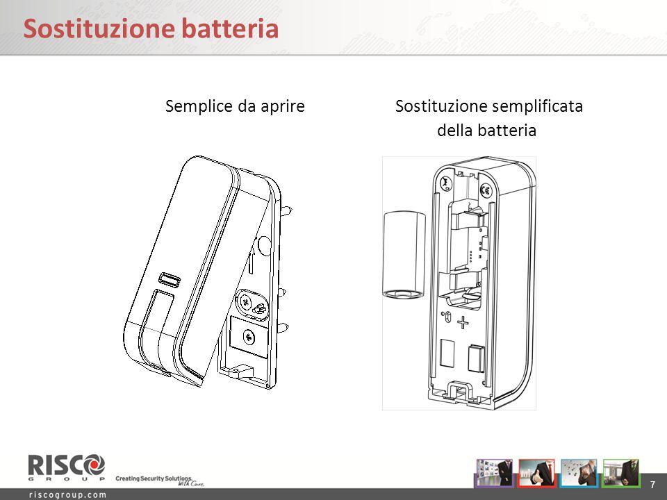 7 Sostituzione batteria Semplice da aprire Sostituzione semplificata della batteria