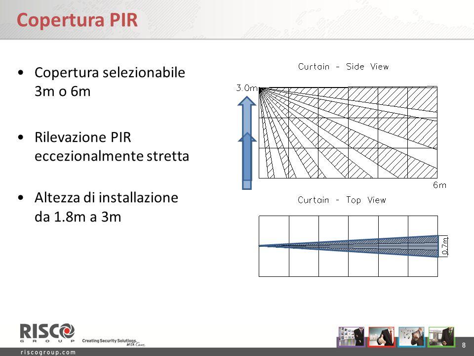 8 Copertura PIR Copertura selezionabile 3m o 6m Rilevazione PIR eccezionalmente stretta Altezza di installazione da 1.8m a 3m