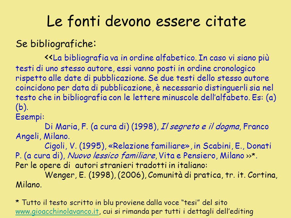 Le fonti devono essere citate Se bibliografiche : << La bibliografia va in ordine alfabetico.