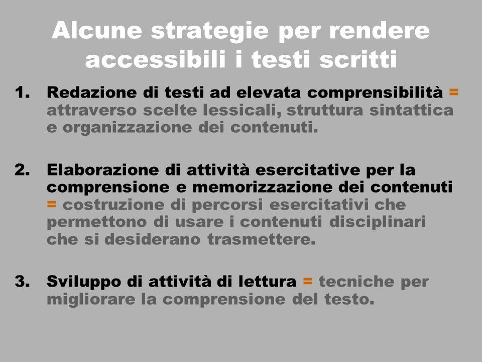 Alcune strategie per rendere accessibili i testi scritti 1.Redazione di testi ad elevata comprensibilità = attraverso scelte lessicali, struttura sintattica e organizzazione dei contenuti.