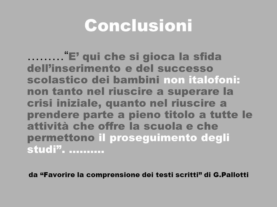 Conclusioni ……… E qui che si gioca la sfida dellinserimento e del successo scolastico dei bambini non italofoni: non tanto nel riuscire a superare la