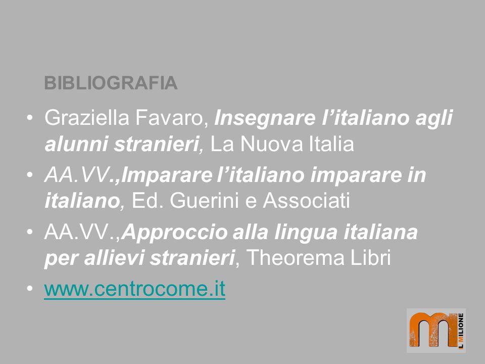 BIBLIOGRAFIA Graziella Favaro, Insegnare litaliano agli alunni stranieri, La Nuova Italia AA.VV.,Imparare litaliano imparare in italiano, Ed. Guerini