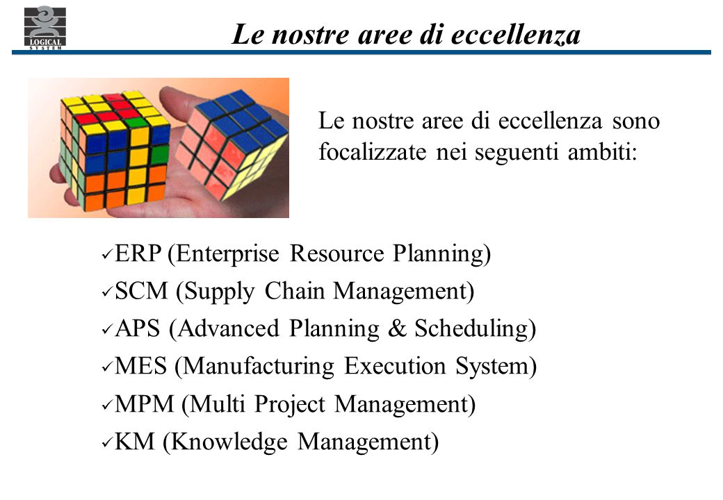 Le nostre aree di eccellenza ERP (Enterprise Resource Planning) SCM (Supply Chain Management) APS (Advanced Planning & Scheduling) MES (Manufacturing Execution System) MPM (Multi Project Management) KM (Knowledge Management) Le nostre aree di eccellenza sono focalizzate nei seguenti ambiti: