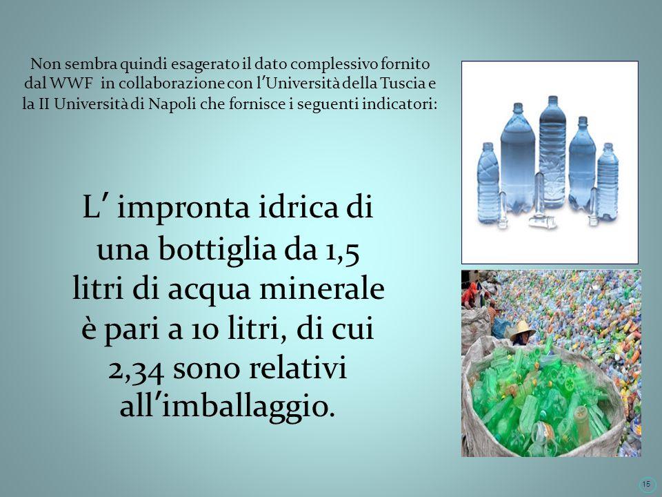 15 Non sembra quindi esagerato il dato complessivo fornito dal WWF in collaborazione con lUniversità della Tuscia e la II Università di Napoli che fornisce i seguenti indicatori: L impronta idrica di una bottiglia da 1,5 litri di acqua minerale è pari a 10 litri, di cui 2,34 sono relativi allimballaggio.