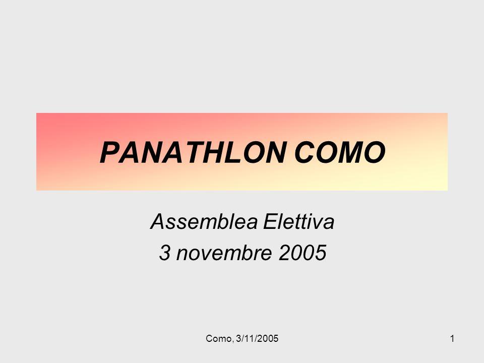 Como, 3/11/20051 PANATHLON COMO Assemblea Elettiva 3 novembre 2005