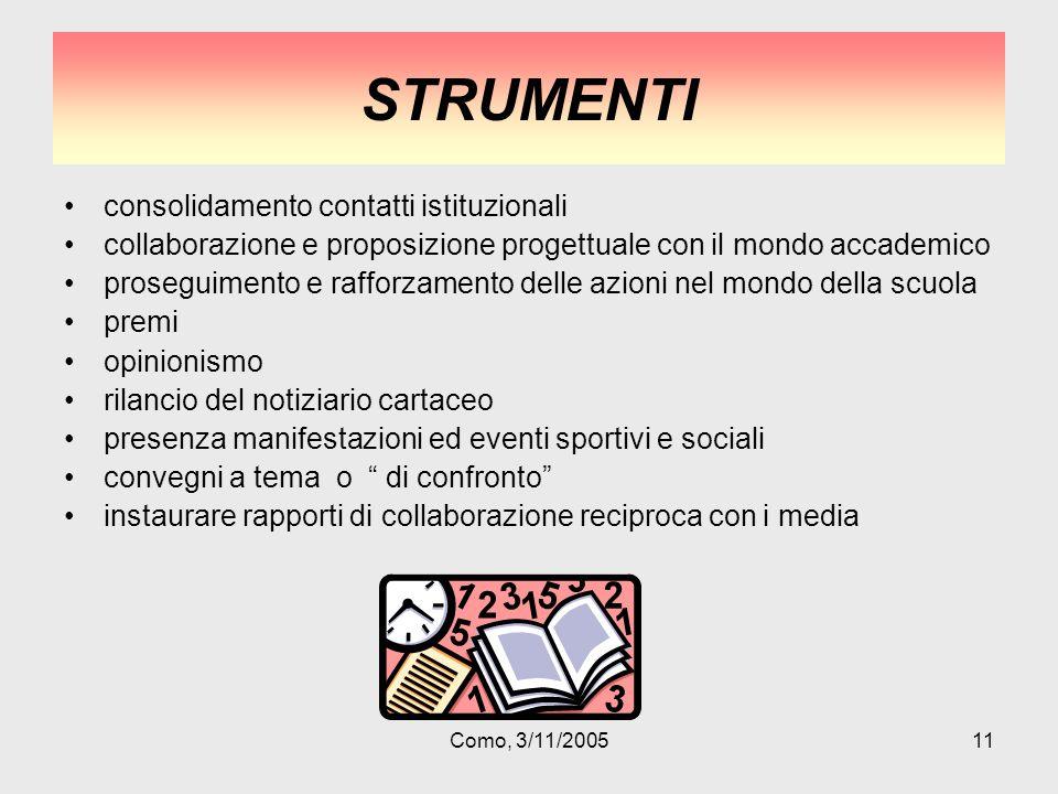 Como, 3/11/200511 STRUMENTI consolidamento contatti istituzionali collaborazione e proposizione progettuale con il mondo accademico proseguimento e ra