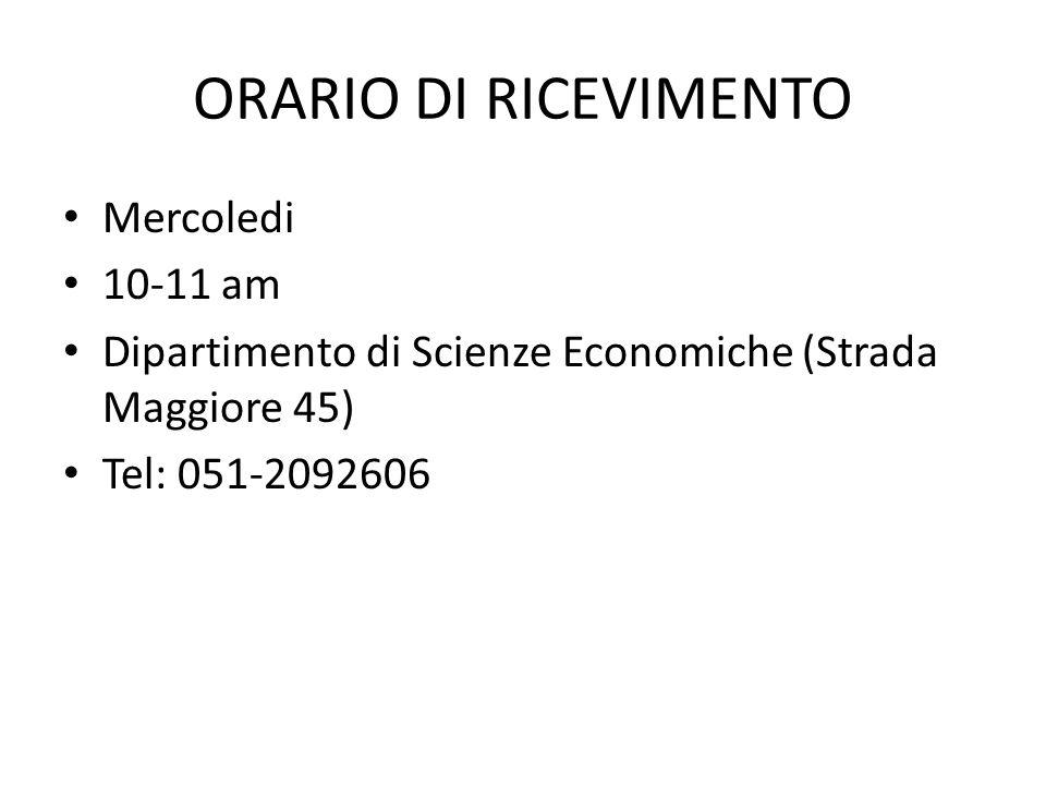 ORARIO DI RICEVIMENTO Mercoledi 10-11 am Dipartimento di Scienze Economiche (Strada Maggiore 45) Tel: 051-2092606