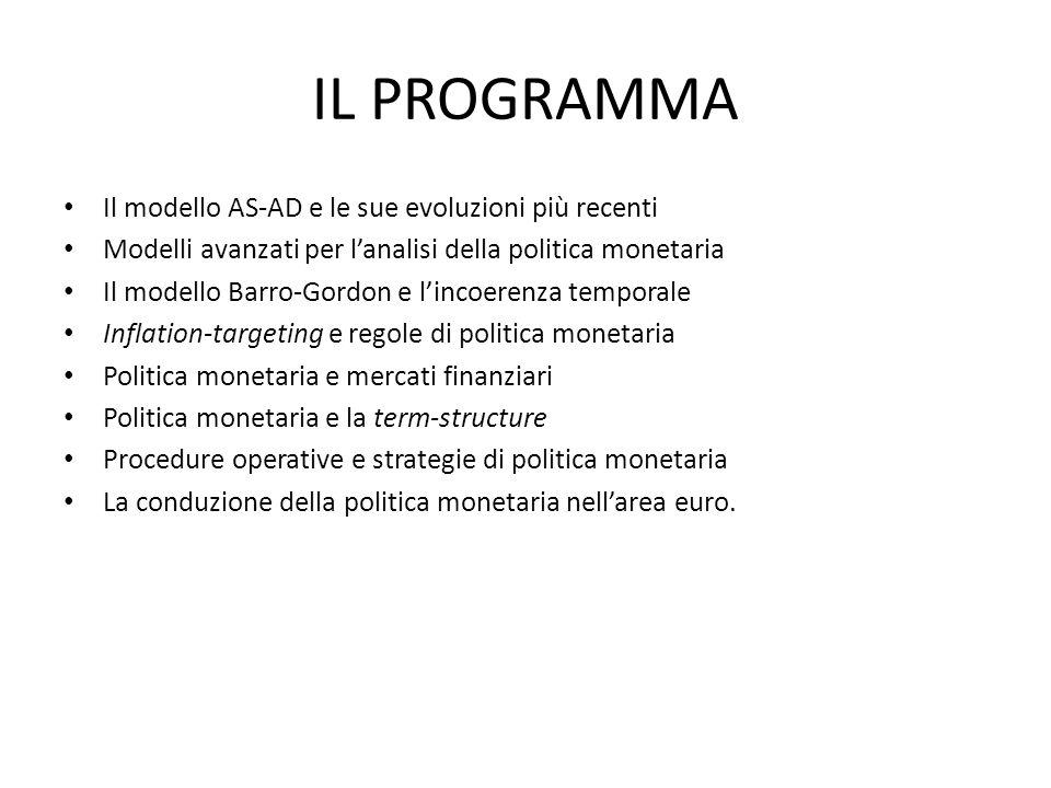 IL PROGRAMMA Il modello AS-AD e le sue evoluzioni più recenti Modelli avanzati per lanalisi della politica monetaria Il modello Barro-Gordon e lincoer