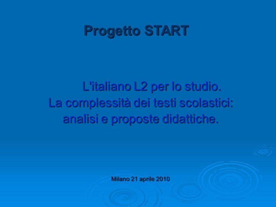 Progetto START L'italiano L2 per lo studio. L'italiano L2 per lo studio. La complessità dei testi scolastici: analisi e proposte didattiche. Milano 21