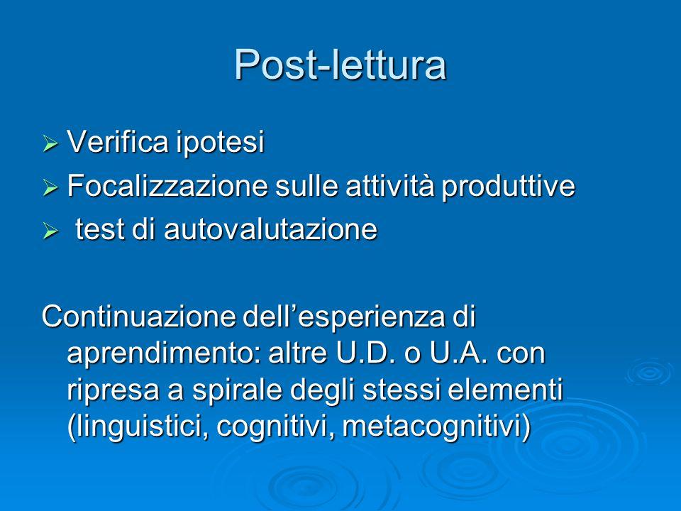 Post-lettura Verifica ipotesi Verifica ipotesi Focalizzazione sulle attività produttive Focalizzazione sulle attività produttive test di autovalutazio