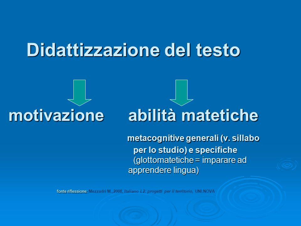 Didattizzazione del testo motivazione abilità matetiche metacognitive generali (v. sillabo per lo studio) e specifiche (glottomatetiche = imparare ad