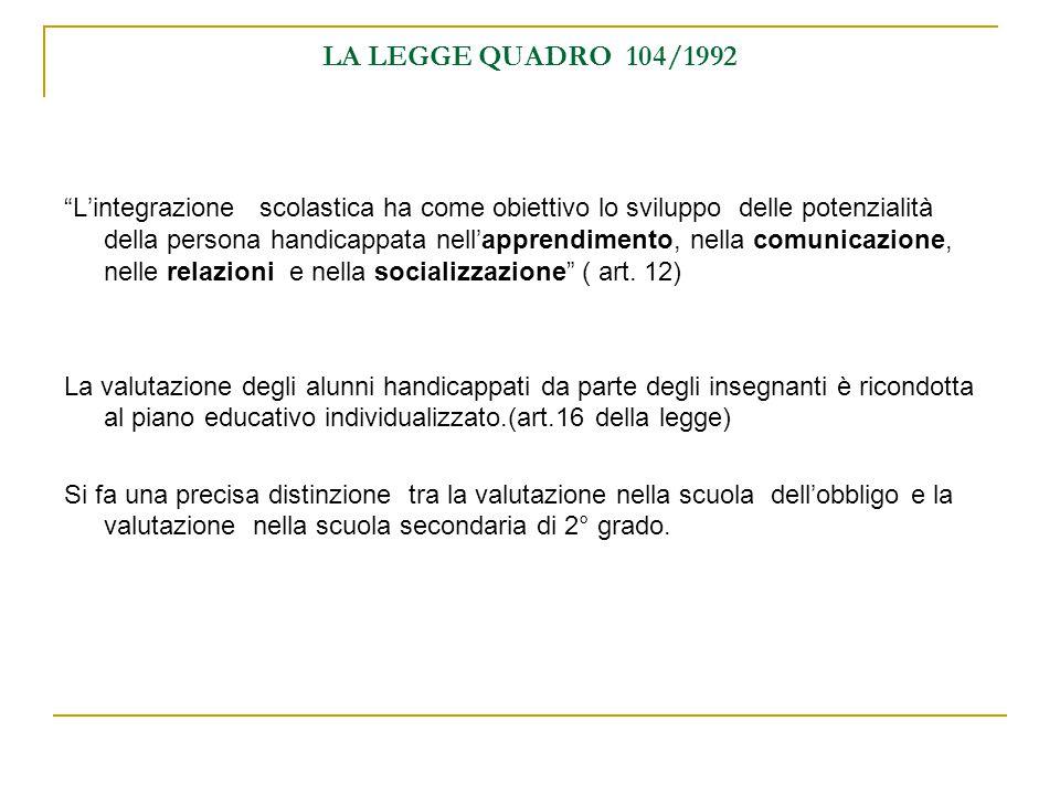 LA LEGGE QUADRO 104/1992 Lintegrazione scolastica ha come obiettivo lo sviluppo delle potenzialità della persona handicappata nellapprendimento, nella comunicazione, nelle relazioni e nella socializzazione ( art.