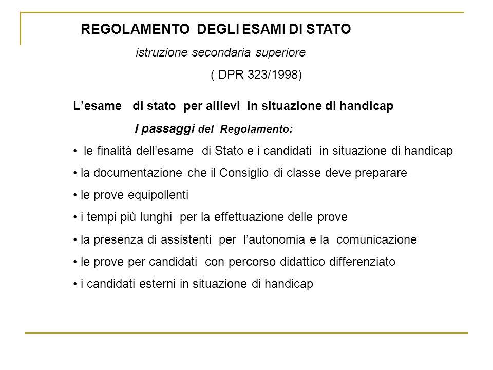 REGOLAMENTO DEGLI ESAMI DI STATO istruzione secondaria superiore ( DPR 323/1998) Lesame di stato per allievi in situazione di handicap I passaggi del