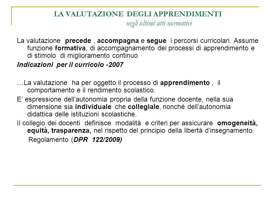 LA VALUTAZIONE DEGLI APPRENDIMENTI negli ultimi atti normativi La valutazione precede, accompagna e segue i percorsi curricolari. Assume funzione form