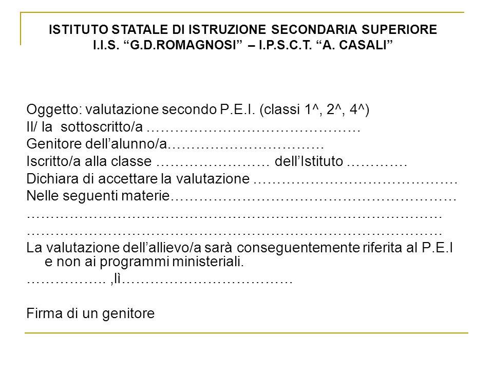 Oggetto: valutazione secondo P.E.I. (classi 1^, 2^, 4^) Il/ la sottoscritto/a ……………………………………… Genitore dellalunno/a…………………………… Iscritto/a alla classe