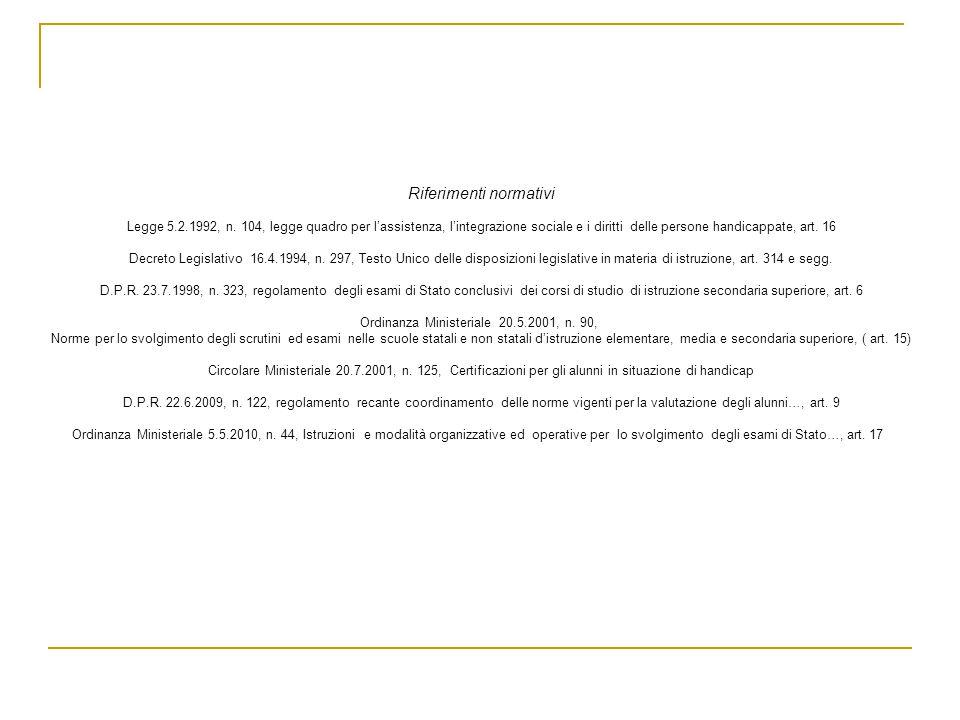 Riferimenti normativi Legge 5.2.1992, n. 104, legge quadro per lassistenza, lintegrazione sociale e i diritti delle persone handicappate, art. 16 Decr