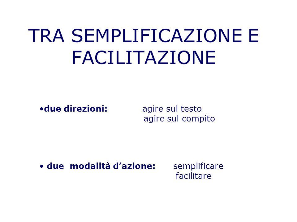 TRA SEMPLIFICAZIONE E FACILITAZIONE due direzioni: agire sul testo agire sul compito due modalità dazione: semplificare facilitare