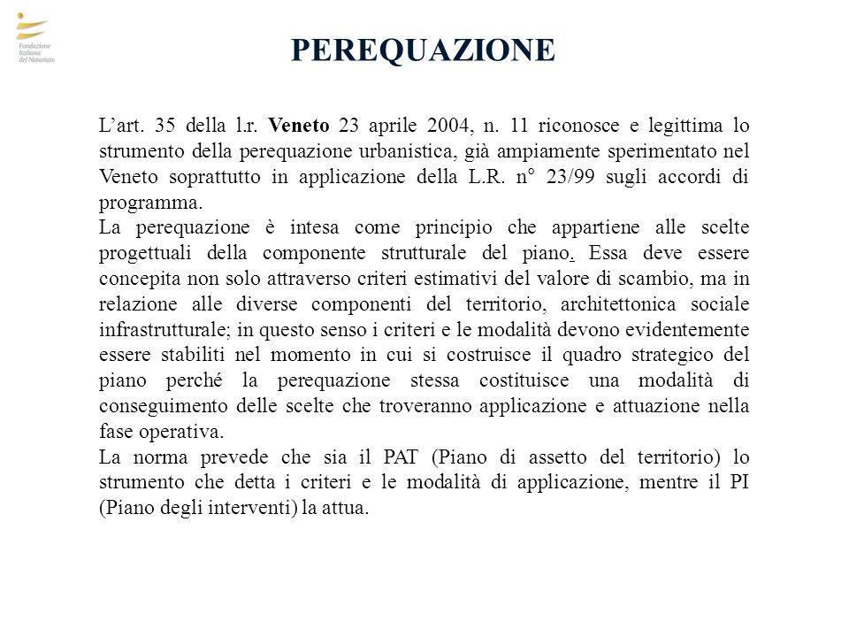 PEREQUAZIONE Lart. 35 della l.r. Veneto 23 aprile 2004, n. 11 riconosce e legittima lo strumento della perequazione urbanistica, già ampiamente sperim