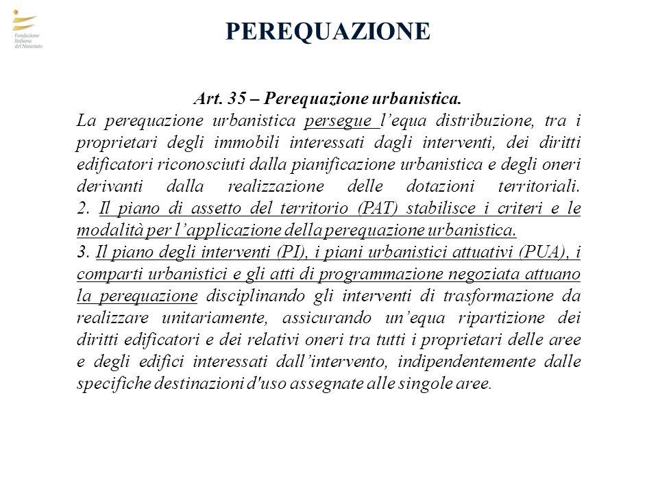 PEREQUAZIONE Art. 35 – Perequazione urbanistica. La perequazione urbanistica persegue lequa distribuzione, tra i proprietari degli immobili interessat