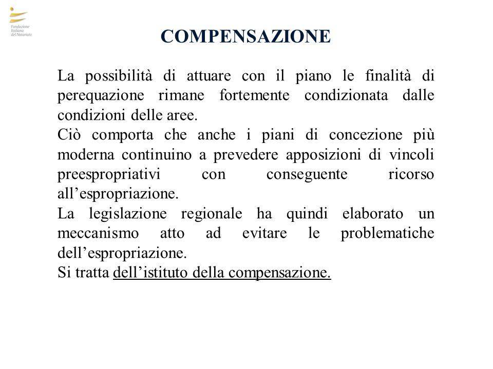 COMPENSAZIONE La possibilità di attuare con il piano le finalità di perequazione rimane fortemente condizionata dalle condizioni delle aree. Ciò compo