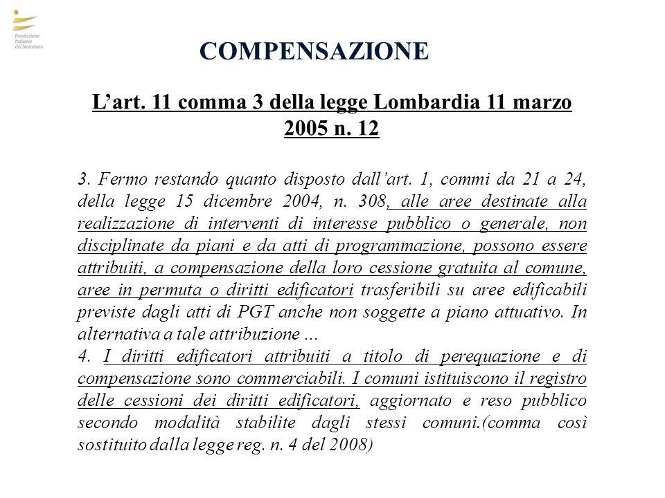 COMPENSAZIONE Lart. 11 comma 3 della legge Lombardia 11 marzo 2005 n. 12 3. Fermo restando quanto disposto dallart. 1, commi da 21 a 24, della legge 1