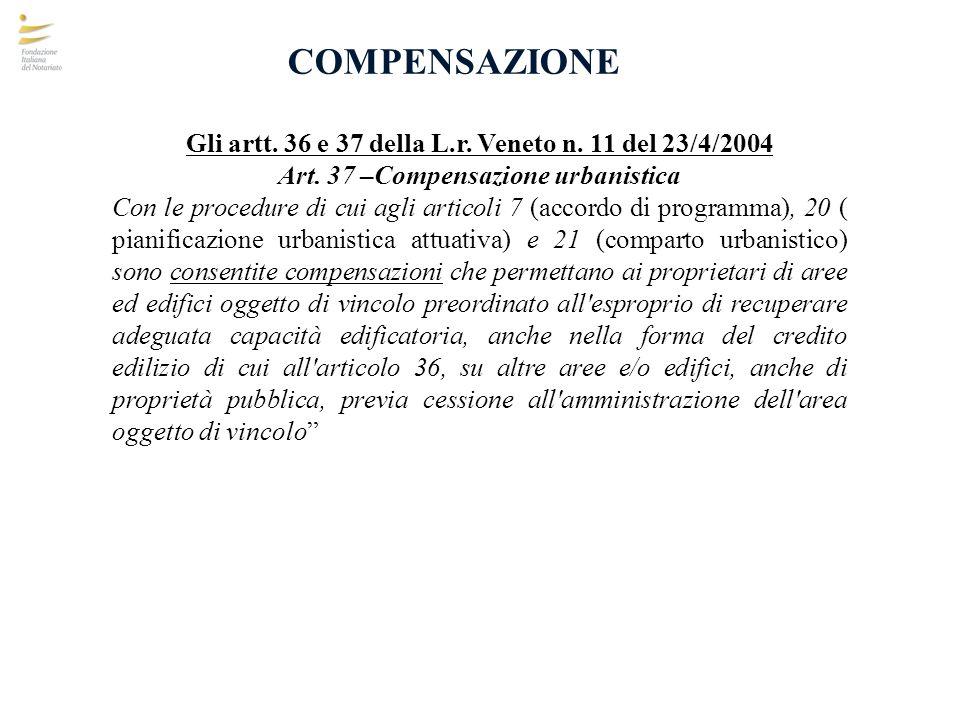 COMPENSAZIONE Gli artt. 36 e 37 della L.r. Veneto n. 11 del 23/4/2004 Art. 37 –Compensazione urbanistica Con le procedure di cui agli articoli 7 (acco