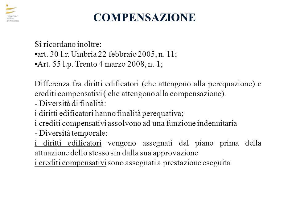 COMPENSAZIONE Si ricordano inoltre: art. 30 l.r. Umbria 22 febbraio 2005, n. 11; Art. 55 l.p. Trento 4 marzo 2008, n. 1; Differenza fra diritti edific