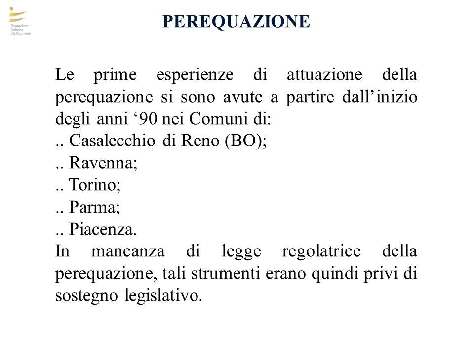 PEREQUAZIONE La legge Lombardia 11 marzo 2005 n.12 Art.