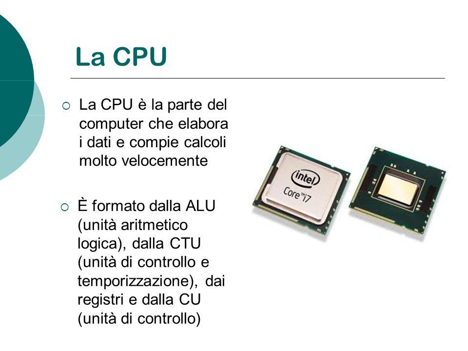 La CPU è la parte del computer che elabora i dati e compie calcoli molto velocemente È formato dalla ALU (unità aritmetico logica), dalla CTU (unità d