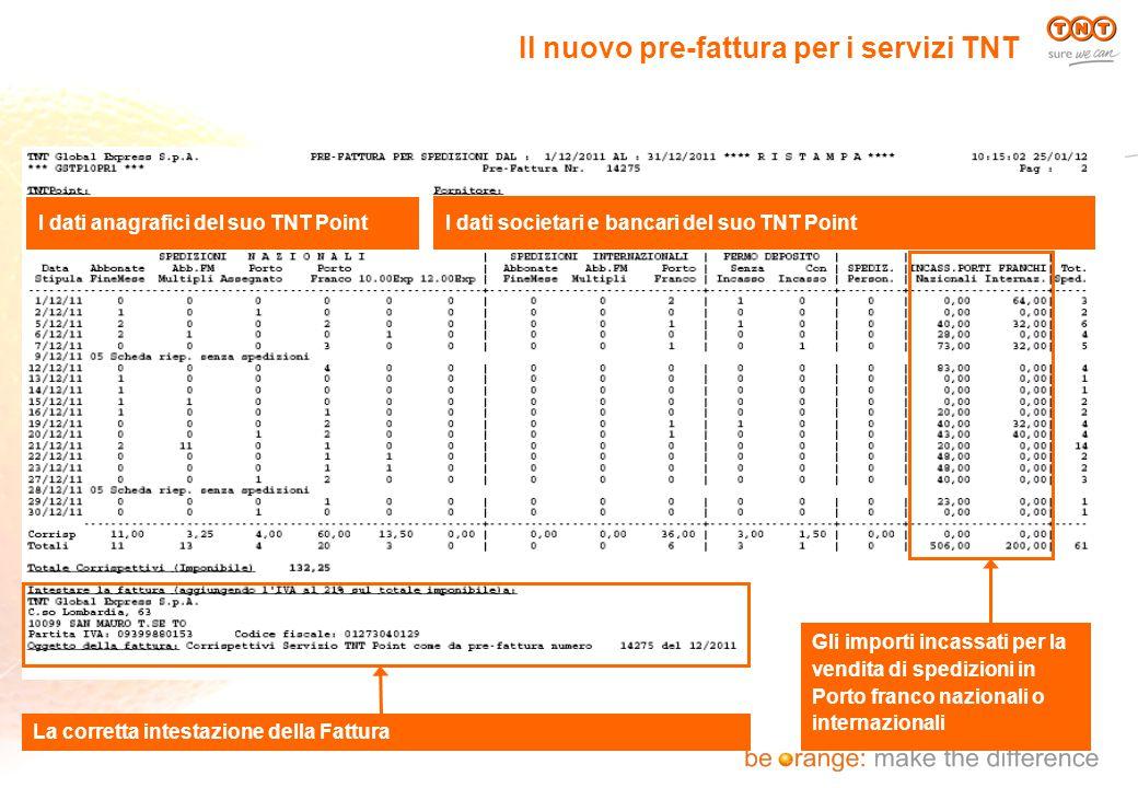 Il nuovo pre-fattura per i servizi TNT I dati anagrafici del suo TNT Point I dati societari e bancari del suo TNT Point Gli importi incassati per la v
