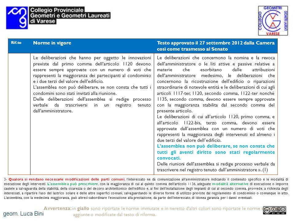 Rif.to Norme in vigoreTesto approvato il 27 settembre 2012 dalla Camera così come trasmesso al Senato Le deliberazioni che hanno per oggetto le innova