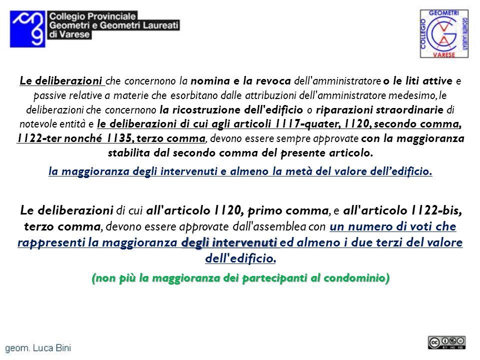 Le deliberazioni che concernono la nomina e la revoca dell'amministratore o le liti attive e passive relative a materie che esorbitano dalle attribuzi
