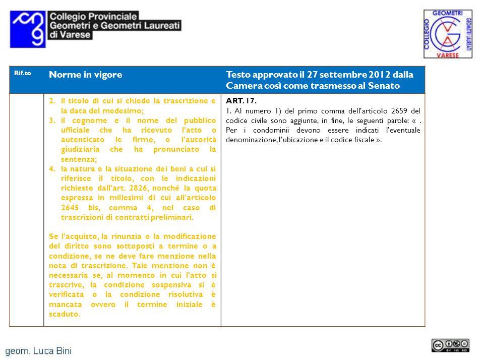Rif.to Norme in vigoreTesto approvato il 27 settembre 2012 dalla Camera così come trasmesso al Senato 2.il titolo di cui si chiede la trascrizione e l